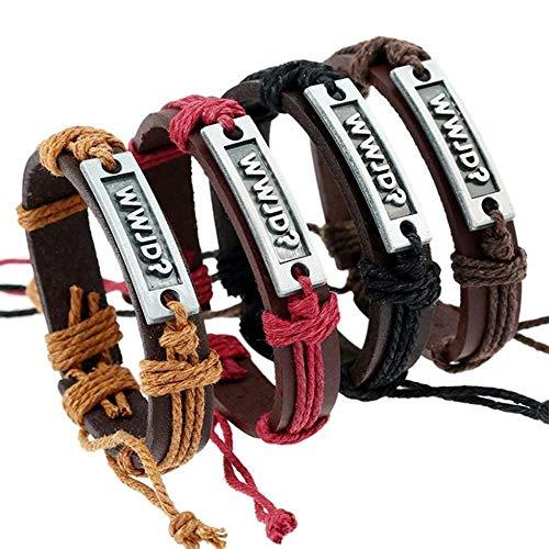 Hongge Lederarmband Herren,Armband Charms Vier Stücke gesetzt WWJD Alphabet Armband Armband für Männer und Frauen