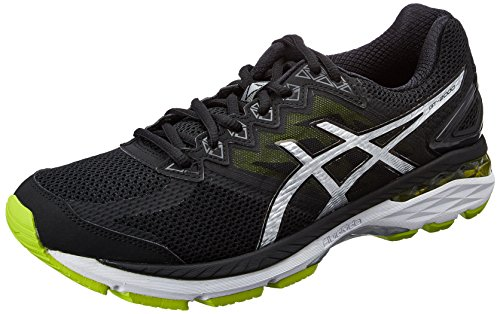 Asics Men's GT-2000 4 Black, Silver and Lime Running Shoes - 9 UK/India (44 EU)(10 US)