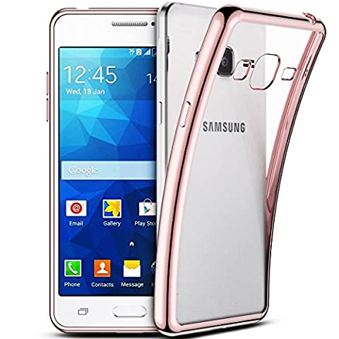 Smartlegend Coque pour SamsungGalaxy Grand Prime ,Galaxy G530 Etui , Samsung Galaxy Grand Prime G530 Soft Shock Absorb Clear Back Panel Flexible Crystal Metal Electroplating Technology Gel TPU Rubber Transparent Back Cover Ultra Thin Shockproof Anti Slip Smartphone Case -Rose Gold - Samsung Galaxy Grand Prime G530