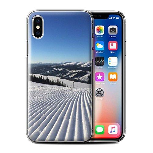 Stuff4 Gel TPU Hülle / Case für Apple iPhone X/10 / Liebe die Berge Muster / Skifahren/Snowboard Kollektion Corduroy Spuren