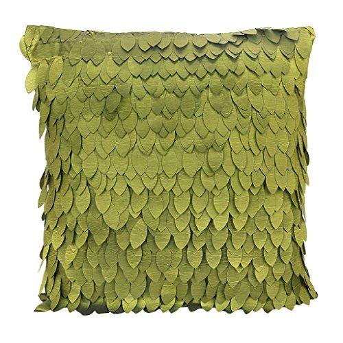 Kingstons leaf-pattern Satin Kissen Fall Bezug für Sofa Kissen Auto Bett Kissen (Olive Grün) (Satin-bett-kissen)