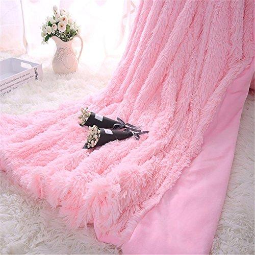 ft Lange Shaggy Überwurf Decke Kunstpelz Warm Elegant Gemütlich Mit Flauschige Decke Tagesdecke Geeignet für Bett Stuhl oder Sofa Plüschdecke Decken Werfen (Rosa, 130 X 160 cm) ()