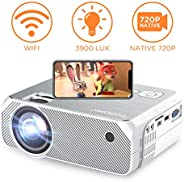 BOMAKER WiFi Video Projector, 4800 Lux Wireless Screen Mirroring Portable Projector, Full HD 1080p Home Movie