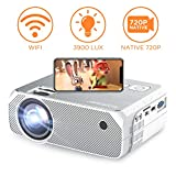 Vidéoprojecteur WiFi sans Fil , 3900 Lumens Mini Projecteur Portable 720p Native Max Supporte Full HD 1080P Retroprojecteur LED avec 250' Grand écran de HDMI / USB / VGA / AV/ USB - GC557