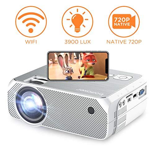 Proiettore, BOMAKER videoproiettore Wifi, 3900 Lumen, Risoluzione nativa 1280x720p, Supporto Full HD 1080P, Andiord e IOS, HDMI, VGA, SD, AV, USB per Home cinema, Giochi, proiettore per esterni