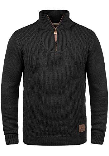 SOLID Tommy Herren Strickpullover Feinstrick Troyer Pulli mit Stehkragen aus hochwertiger Baumwollmischung Meliert, Größe:XL, Farbe:Black (9000) (Leder-jogger)