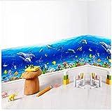 HAJKSDS Abnehmbare Wandaufkleber Unterwasserwelt Fisch Meer Aufkleber Podest Linie Für Baby Kinder Badezimmer Dekoration PVC Abziehbilder