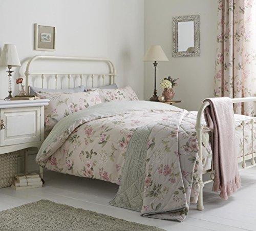 Floral Blumen Blätter Pink Grün Baumwoll-Mischgewebe Super King Size 6-teiliges Schlafzimmer-Set (Blackout Vorhänge 52 X 48)