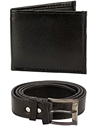 HOB London Fashion With Device Black Belt & Wallet Combo For Men