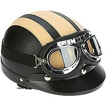 KKmoon Motorino Motociclo Casco Aperto del Fronte Mezzo Cuoio con Visiera UV Occhiali di Protezione Retro Vintage Stile 54-60cm Giallo - Pelle Open Face