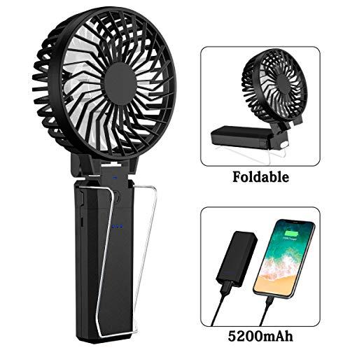 Qoosea Handheld Fan Tragbare Leise USB-Lüfter mit Power Bank 3 in 1 Batteriebetriebenem Mini-Lüfter Faltbarer USB-Lüfter Wiederaufladbarer Tischlüfter mit 5 Geschwindigkeit 5200mAh (Handheld Mini Fan)