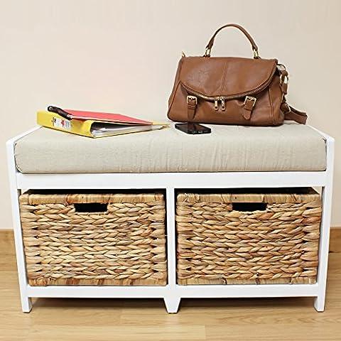 Hartleys White Bench Cushion Seat & Seagrass Wicker Storage Baskets