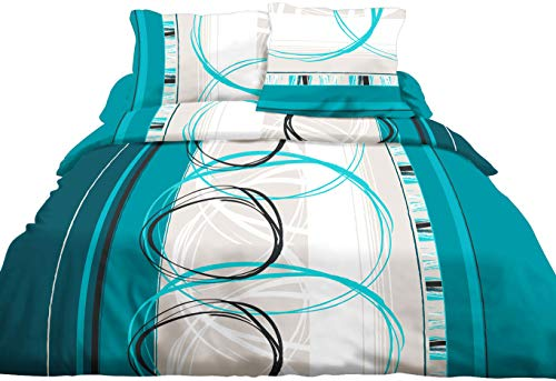 Le linge de Jules Parure Drap Plat + Drap-Housse 140x190 + 2 T - Pur Coton 57 Fils - Roue L Turquoise
