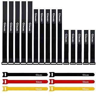 Gimars 21 Stücke Wiederverwendbare Klettkabelbinder Befestigung Klett Kabelbinder Klettverschluss Klettbänder mit Schnalle - verschiedene Längen und Farben