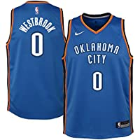 Nike NBA Oklahoma City Thunder Russell Westbrook 0 2017 2018 Icon Edition Jersey Oficial Away,