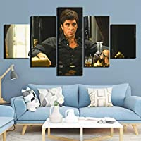 Pintura en lienzo 5 piezas Scarface Movie Hd Prints Art Posters Pintura Obra de arte Wall Art Pictures Al Pacino Poster Home Decoration(size)