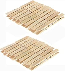 Blossoms Wooden Clips Bamboo Cloth Pegs Set Of 40 Clips