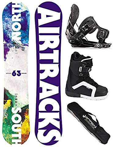 AIRTRACKS SNOWBOARD SET - WIDE BOARD NORTH SOUTH 156 - SOFTBINDUNG FLOW FIVE - SOFTBOOTS STRONG 42 - SB BAG