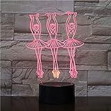 Illusion Lampe 3D Ballett Mädchen LED Nachtlichter 7 Farben Ersatz Weihnachtsbeleuchtung Weihnachtsdekoration Geschenke Kinderspielzeug 3D Nachtlicht