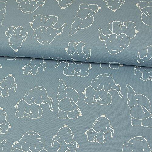 Stoffe Werning Algodón Elefantes Jeans Azul Niños sustancias Baby sustancias Diseño Animales,...