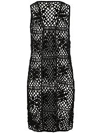 SUBLEVEL Damen Häkel-Weste mit Loch-Muster   Frauen Weste lang und Ärmellos im Hippie Style