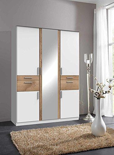 lifestyle4living Kleiderschrank 5-Türig in Weiß/Eiche mit Schubladen und Spiegel | Drehtührenschrank mit Vielen Fächern ca. 135 cmW
