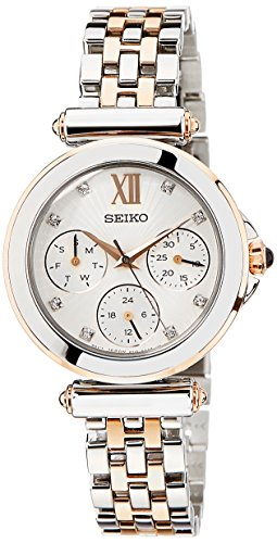 Seiko Women's Quartz Watch with White Dial Analogue Display and Multicolour Stainless Steel Bracelet SKY700P1