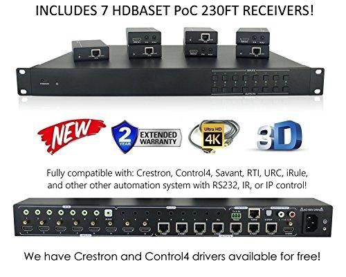 8x 8HDBaseT 4K Matrix Switcher mit 7Poc Empfänger (CAT5e oder Cat6) HDMI HDCP2.2HDTV Routing SPDIF Audio Crestron ST control4Savant Home Automation (8x 8HDBaseT Matrix mit 1HDMI-Ausgang) Av Matrix Switcher