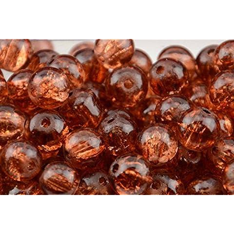 145pcs 6 mm, in vetro cracklé color ambra