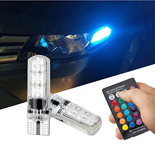 Alcoa Prime Remote Control 2x T10 5050 LED RGB Multi-color Interior Wedge Side Light Strobe