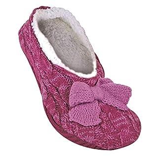 Jennifer Anderton - Ladies Knitted Fluffy Faux Fur Lined Warm Fleece Non Slip Slipper Socks with Grippers (6-8 UK, Raspberry)