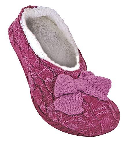 Jennifer anderton donna eleganti, morbide e peluche antiscivolo pantofole con suola in gomma adulti in 3 colori (40-42 eur, raspberry)