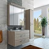 Badezimmer Möbel Set mit Waschbecken Spiegel und Hochschrank in Creme Monaco Eiche / Beige Braun