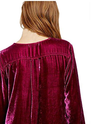 Auxo Femmes Sexy Col V Long Chemise à Manches Longues Blouse Robe Lâche Tunique Long Mode Tops Vin Rouge