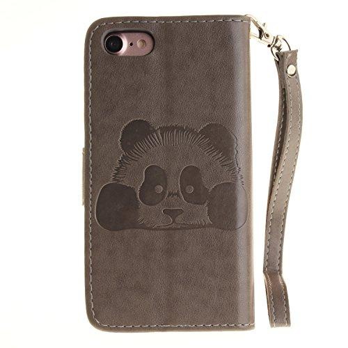 Voguecase Pour Apple iPhone 7 4,7 Coque, Étui en cuir synthétique chic avec fonction support pratique pour Apple iPhone 7 4,7 (Panda-Rouge)de Gratuit stylet l'écran aléatoire universelle Panda-Gris