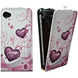 Xtra-Funky Exclusive Leather Flip Style Wallet Case Cover with Beautiful Stylish Pink Hearts Flower Floral & Butterflies Designs For iPhone 4 / 4S - Design B5