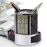Yangfr Digital LCD Bureau Réveil & Maille règles Pen crayon support temps Temp Calendar-black rond en forme de cylindre noir