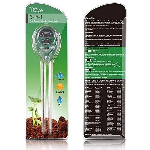 Rapitest Ph-meter (AUVSTAR Boden Feuchtigkeit Meter, 3in 1Erde PH Test Kit Gartengeräte, für, Light & Feuchtigkeit, Anlage Tester für Home, Farm, Rasen, Indoor & Outdoor (Kein Akku erforderlich))