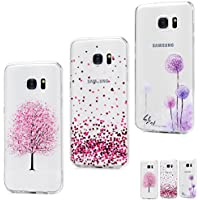 MAXFE.CO Coque Etui Protection Samsung Galaxy S7 Edge Silicone Transparent Housse TPU Antichoc Case Cover Cuir Accessoire Coques pour Samsung Galaxy S7 Edge - Prunier * Amour * Pissenlit