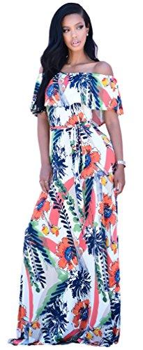 Imprimé Sexy bretelles Ruffles Floral Bodycon Party Clubwear Maxi Dress Blanc