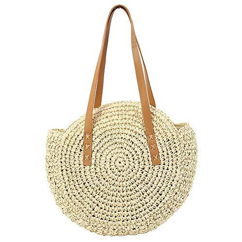 Beige Handtaschen Stroh (YXQSED Damen Gewebte Tasche Rund - Sommer Strandtasche Stroh Umhängetaschen Handgemachte Schultertaschen Groß Beige)