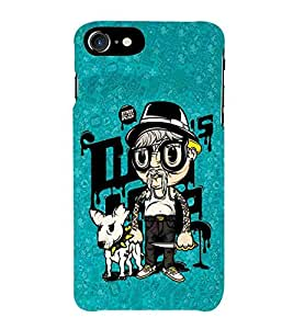 For Apple iPhone 7 every dog has it's day, good quotes, cartoon, dog, man, blue pattern Designer Printed High Quality Smooth Matte Protective Mobile Case Back Pouch Cover by APEX ELEGANT