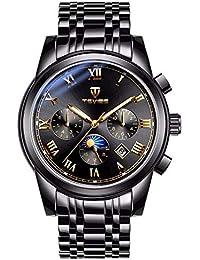 2a9ee65d7068 MD Hombres Negro Reloj Mecánico Reloj De Pulsera Esqueleto De Acero  Inoxidable Banda De Lujo De