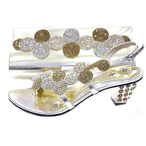 W & W femmes Mesdames cristal Diamante Mariée Mariage Chaussures et sac assorti Taille (mizra & par) Doré