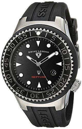 Swiss Legend - SL-21848D-GM-01-NB - Montre Homme - Quartz Analogique - Cadran Noir - Bracelet Silicone Noir