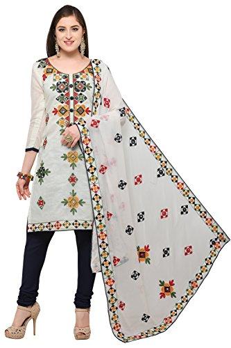 EthnicJunction Rajasthani Mirror Work Chanderi Embroidery Unstitched Salwar Kameez Dress Material (EJ1180-88014,...