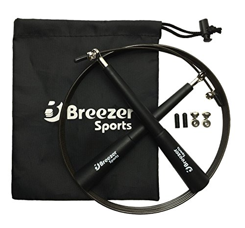 Breezer-Sports Springseil - Speed-Rope PREMIUM High Speed Jump-Rope mit 3D Kugellager | Perfekt zum Seilspringen, Double-Unders, Fitness-Training, Rope-Skipping, MMA & WODs