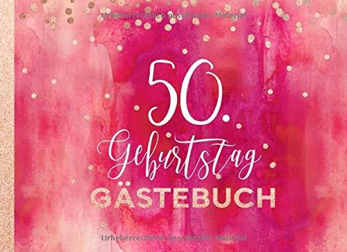 ebuch: Gäste Geburtstagsbuch zum Eintragen Geburtstagswünsche für Geburtstagsfeier Frauen - Erinnerungsalbum 50 Jahre, Liniert - Party Dekoration Buch Modern, Pink Rot Rosegold ()