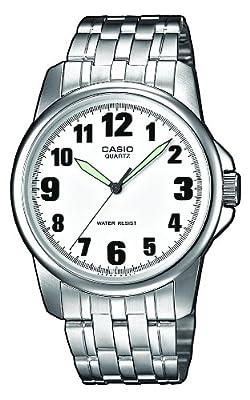CASIO MTP-1260D-7B - Reloj con correa de acero inoxidable, para hombre, color blanco y plateado