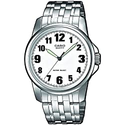 Casio-MTP-1260PD-7B-Classic Men's Watch, Analogue Quartz, Black Dial, Grey Steel Strap